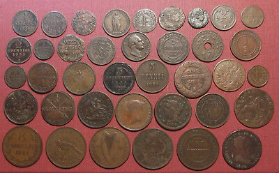 Lot Of (38) World Copper Coins! Variety Of Countries, States And Colonies!