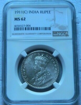 "1911 ""C"" British India George V King Silver One Rupee Pig Elephant NGC MS62  UNC"