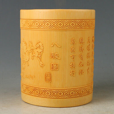 Chinese Antique Bamboo Brush Pot Carved Eight Fine Horses RB016