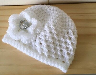 Newborn  To 3months Hand Knitted  , Crochet Baby Beanie/ Hat
