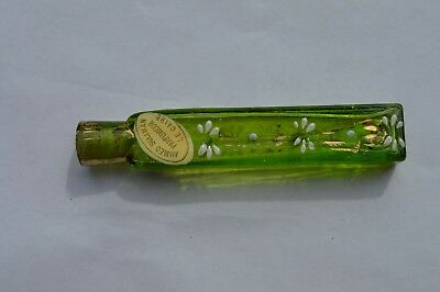 Antique Ahmed Soliman Parfumeur Lc Caire Enamel Green Glass Perfume/scent Bottle