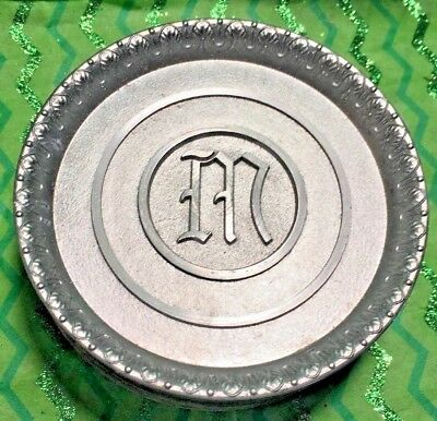 8 Vintage Monogrammed M Metal Coasters L.E. Mason Co. Boston, Mass.