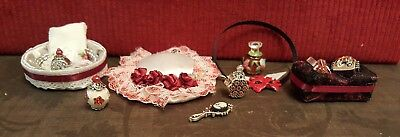 Victorian Style Accessories with Hat and Vanity Items - Red Themed