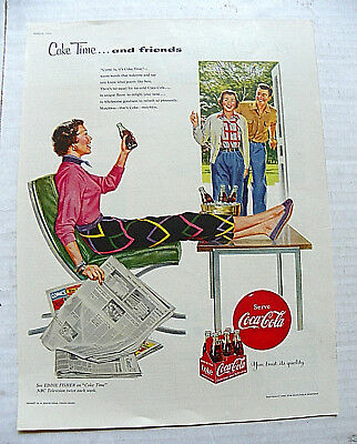 "1954,mar. Ladies' Home Journal ""coke Time...and Friends"" Couple Visiting Friend"