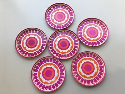 Set 6 Vintage Retro Metal drink cocktail coasters. Funky Pop floral. 9.5cm diam