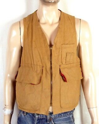 vtg 50s 60s Blue Bill Red Head Duck Canvas Hunting Vest flannel lined pockets 42