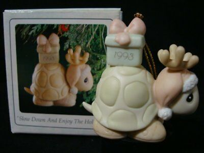Precious Moments Ornaments-Turtle/Antlers/Gift-Limited Edition 1993