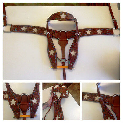 Stunning hand carved western bridle and breastplate set stars