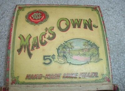 Antique Mac's Own Wood Cigar Box