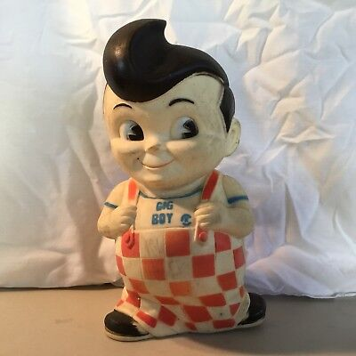 VINTAGE 1970s BOBs BIG BOY RUBBER STILL COIN PIGGY BANK Collectible Advertising