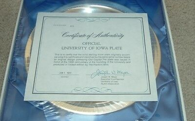 1977 Solid Sterling Silver University of Iowa 130 Year Anniversary Plate Sealed