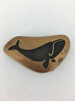 Vintage Hippie Belt Buckle - Save the Whales! Stylized Sperm Whale