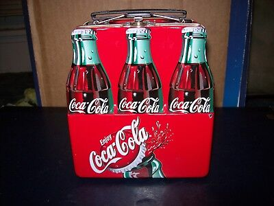 """Coke Coca-Cola 6 Pack Bottles Metal Mini Lunch Box 6"""" Long Great Condition"""