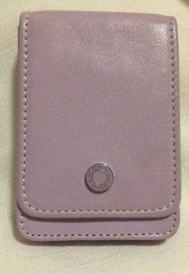 Coach Lavender Purple Leather Credit Business Card Hard Case Holder Snap Closure