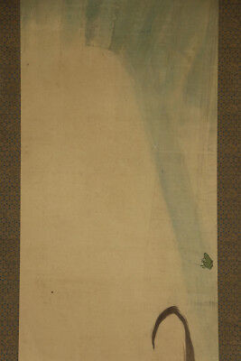 """JAPANESE HANGING SCROLL ART Painting """"Frog on leaf"""" Asian antique  #E2943"""