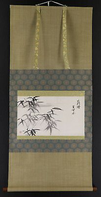 """JAPANESE HANGING SCROLL ART Painting """"Bamboo"""" Asian antique  #E2927"""