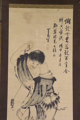 JAPANESE HANGING SCROLL ART Painting  Asian antique  #E2942