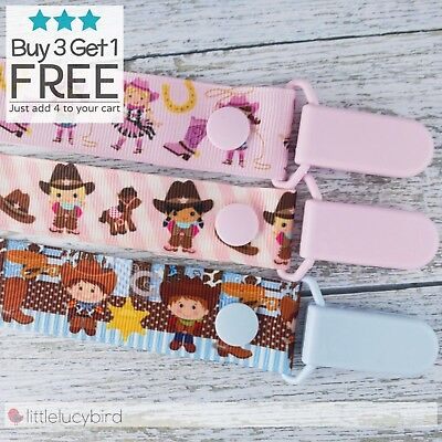 Cowgirl - Cowboy Dummy Clip - Pacifier Clips - Soother Chain - Baby Gift