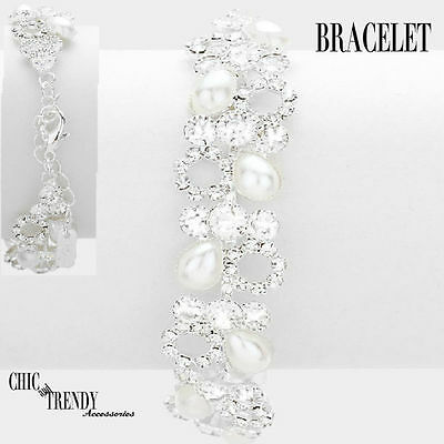 White Pearl & Clear Crystal Bracelet Bridal Formal Wedding Chic & Trendy Jewelry