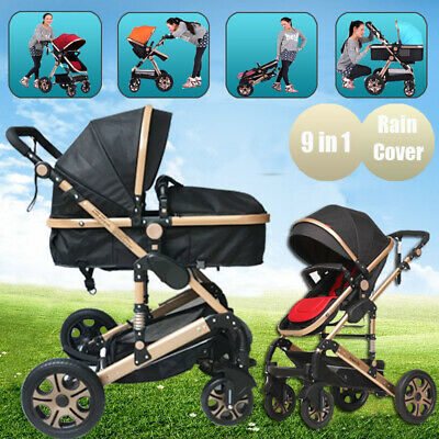 9 in 1 Baby Stroller High View Pram Foldable Jogger Aluminium Bassinet Pushchair