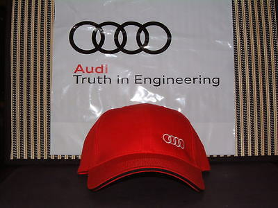 Audi Collection Red Baseball Style Hat/cap W/audi Rings Logo New For '12/'13 Nib