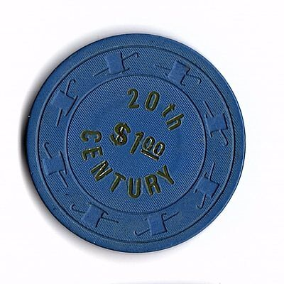 20Th Century $1 Casino Chip First Issue Rare R6 But Weak Hot Stamp