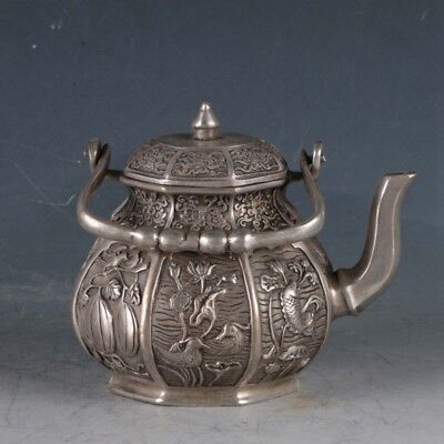Chinese Silvering Copper Eight Treasures Teapot Made During The Da Ming Xuande