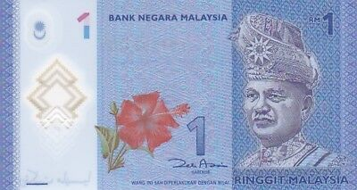 UNC 2012 Malaysia 1 Ringgit Polymer Note, Pick NEW
