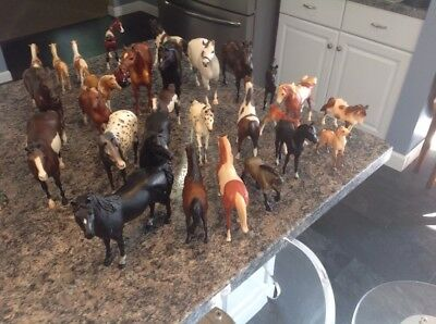 Huge Lot Of 28 Breyer Horses Big And Small Some Have A Tag On Bottom With Info ?