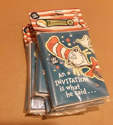 Cat In The Hat Birthday Party Invitations Unique Dr Seuss 8 Cards Envelopes