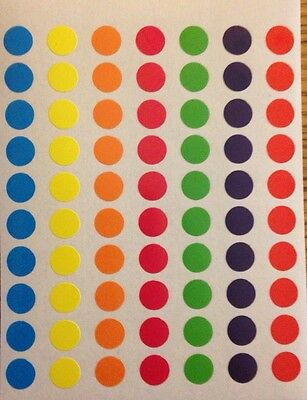 210 Small Round Coloured Sticky Dots 8mm Circles,Stickers, Labels,Spots,Planner