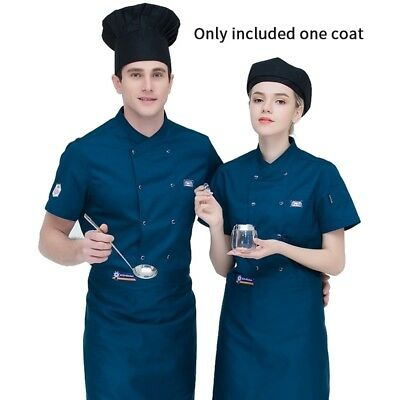 Chef Coat Pure Color Short Sleeve Double Breasted Jacket Hotel Kitchen Workwear