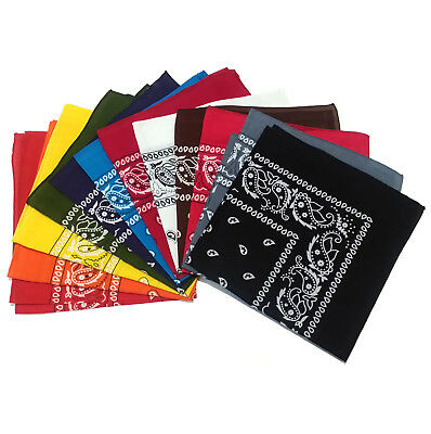 NEW Paisley Print Cotton Bandana Head Wrap Scarf Headband 12 Colors + Dozen Pack