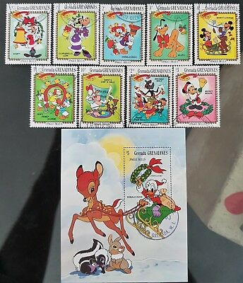 Grenada Grenadines 1983 Sc # 560 to Sc # 569 Disney Mini Sheet Mint CTO Stamps