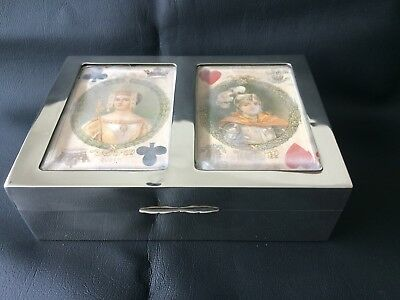Silver Playing Card Boxcase Hallmarked Birmingham 1901 for Levi and Salaman