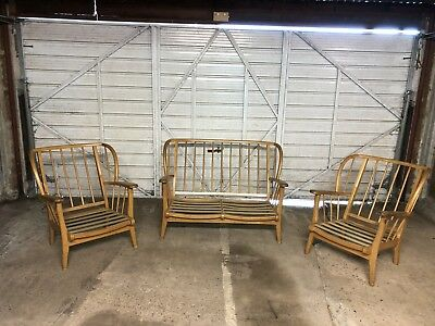 Mid Century Wooden Sofa and 2 Armchair Frames