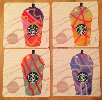 "Canada Series Starbucks ""MINI FRAPPUCCINO 2018 SET"" (4) Gift Cards -New No Value"