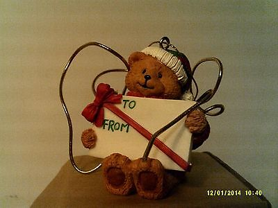 2001 Avon HOLIDAY WISHES PACKAGE TOPPER/ORNAMENT-TEDDY BEAR-NEW IN BOX-FREE SHIP