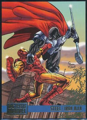 1995 DC Versus Marvel Trading Card #62 Steel vs. Iron Man