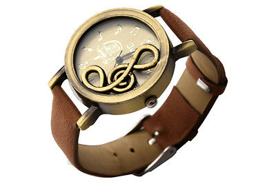 New Retro Musical Note Dial Quartz Movement Watch with PU Leather Wrist Wat E4X3