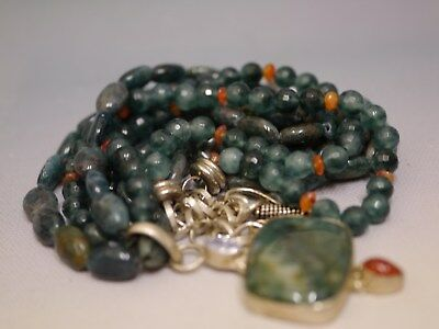Vintage Chinese Necklace Of Apatite & Carnelian Beads, Green Jasper Pendant