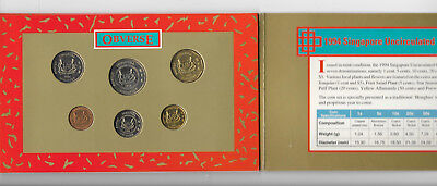 Singapore 1994 1 cent to 5 dollars coin set (7 pcs) UNC in folder
