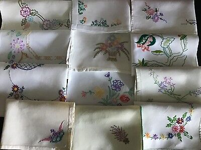 Beautiful Collection 12 Vintage Linen Hand Embroidered Tray Cloths ~ Ex. Cond.
