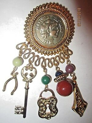 VTG Alexander The Great Coin Decorated Charm High End Estate Brooch Pin