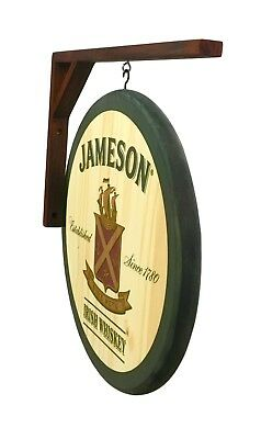 "Jameson Whiskey - 14"" Diameter - 2 Sided Wooden Pub sign and Wall Bracket"