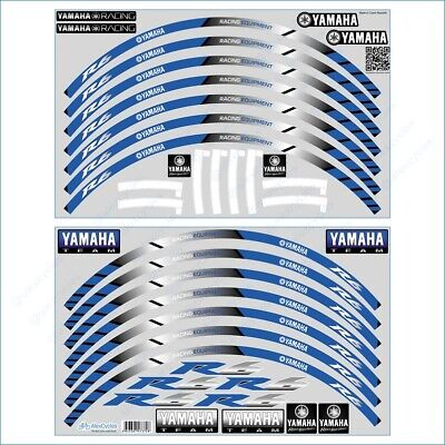 YAMAHA YZF R6 Motorcycle Bike Wheel Rim Blue Laminated Stripes Decal Sticker Set