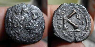 100 Byzantine - Heraclius 610-641 A.d. - 1/2 Folles - Dated - *rare*