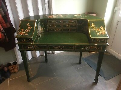 Green Writing Desk Dress Dressing Table Bureau  and matching chair