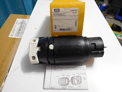 New Hubbell CS8164C twist-lock connector 50A 3 phase 480VAC 3 pole 4 wire ground