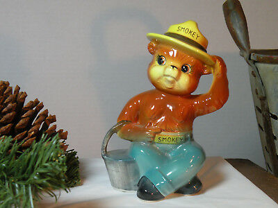 """Vintage 1950s Norcrest Smokey The Bear Piggy Bank 6"""" w/ Bucket 